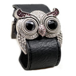 Silver Color Amethyst Crystal Owl Leather Cuff Bracelet