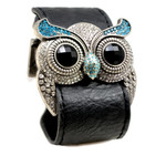 Silver Color Aquamarine Crystal Owl Leather Cuff Bracelet