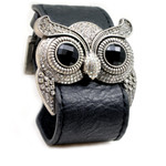 Silver Color Clear Crystal Owl Leather Cuff Bracelet