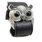Silver Color Emerald Crystal Owl Leather Cuff Bracelet