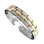 Mens Two Tone Titanium Magnetic Golf Bracelet Extra Wide T28