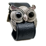 Silver Color Lt. Amethyst Crystal Owl Leather Cuff Bracelet