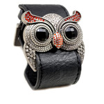 Accents Kingdom Silver Color Ruby Crystal Owl Leather Cuff Bracelet