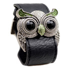 Silver Color Peridot Crystal Owl Leather Cuff Bracelet