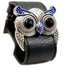 Silver Color Sapphire Crystal Owl Leather Cuff Bracelet