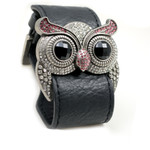 Silver Color Rose Crystal Owl Leather Cuff Bracelet