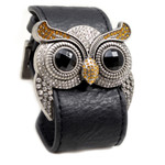 Silver Color Owl Leather Cuff Bracelet Simulated Citrine Crystal