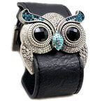 Silver Color Owl Leather Bracelet Blue Simulated Topaz Crystal