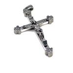 Silvertone Rosary Crucifix Cross Pendant