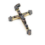 Copper and Brass Rosary Crucifix Cross Pendant