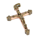 Brass and Copper Rosary Crucifix Cross Pendant