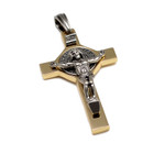 Silvertone and Brass St Benedict Crucifix Cross Pendant