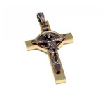 Copper and Brass St Benedict Crucifix Cross Pendant