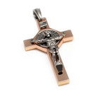 Silvertone and Copper St Benedict Crucifix Cross Pendant