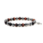 Accents Kingdom Women's 8MM Magnetic Hematite Red Tiger Eye Bead Cross Bracelet 7.5""