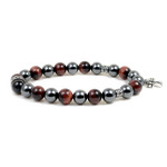 Men's 10MM Magnetic Hematite Red Tiger Eye Bead Cross Bracelet 8.5""