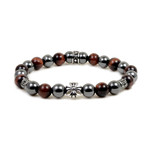 8MM Magnetic Hematite Red Tiger Eye Bead Maltese Cross Bracelet 7.5""