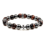Men's 10MM Magnetic Hematite Red Tiger Eye Bead Maltese Cross Bracelet 8.5""