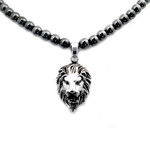 Men's Magnetic Hematite Round Bead Necklace With Stainless Steel Lion Head Pendant