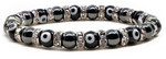 Womens Magnetic Hematite Tuchi Pearl Bracelet with Black Evil Eyes and Crystal Beads 7.5""