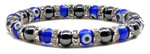 Womens Magnetic Hematite Tuchi Pearl Bracelet with Blue Evil Eyes and Crystal Beads 7.5""