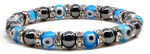 Womens Magnetic Hematite Tuchi Pearl Bracelet with Light Blue Evil Eyes and Crystal Beads 7.5""