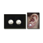Magnetic Hematite Stud White Pearl Earrings