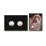 Magnetic Hematite Stud White Pearl Earrings
