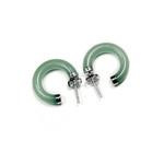 Accents Kingdom Sterling Silver Jade Round Hoop Earrings