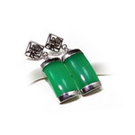Accents Kingdom Sterling Silver Green Jade Lucky Earrings