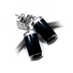 Accents Kingdom Sterling Silver Black Onyx Lucky Earrings