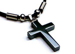 Men's Stylish Black Hematite Cross Pendant Necklace