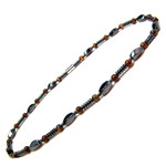 Men's Magnetic Hematite Tiger's Eye Bead Necklace