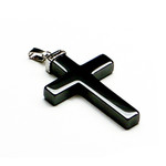 Men's Stylish Black Hematite Cross Pendant
