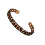 Accents Kingdom Men's Basket Weave Magnetic Copper Bracelet
