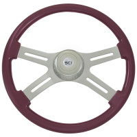 "Classic Purple 18"" Steering Wheel With Chrome Bezel"