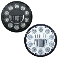 "7"" Round Chrome Crystal Headlight With 11 High Power LEDs Black & Chrome"
