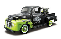 1948 Harley Davidson FL Panhead & 1948 Ford F1 Pickup 1/27 Scale In Dull Black & Green Flames