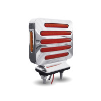 Flatline Double Face Double Post Square Amber And Red LED Light Angle View