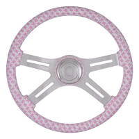 "Breast Cancer Pink & White Ribbon 18"" Steering Wheel With Hub Included"