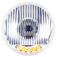 "5 3/4"" Round Crystal Headlight Bulb With Amber LED"