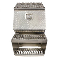 "18"" Diamond Plate Aluminum Saddle Tool Box With Step"