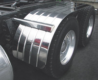 "Semi Truck 66"" Half Fenders Stainless Steel With Beaded Edge"
