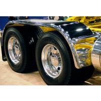 """Hogebuilt Stainless Steel 133"""" Full Tandem Fenders On truck"""