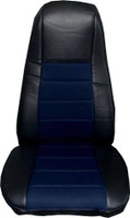 Black Vinyl Seat Cover With Dark Blue Fabric & Pocket