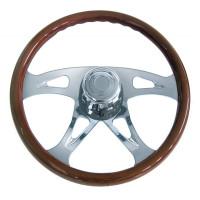 18Š— Mahogany 4 Chrome Spoke Boss Steering Wheel With Hub