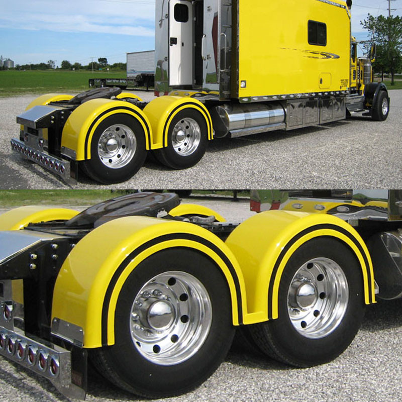 For A Semi Tractor Fenders : Semi truck fiberglass double hump fender set with brackets