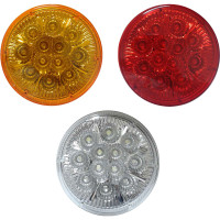 12 LED 4 Inch Round Red amber and clear STT and PTC Lights
