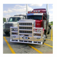 Peterbilt 378 379 SFA Herd Super Road Train Bumper Grill Guard With Horizontal Bars Front Image On Truck