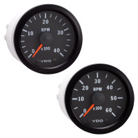 "Semi Truck 2 1/16"" Electrical Programmable Tachometer Gauge Vision Black"